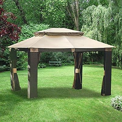 Garden Winds Antigua Gazebo Replacement Canopy Top Cover and Netting - RipLock 350: Garden & Outdoor