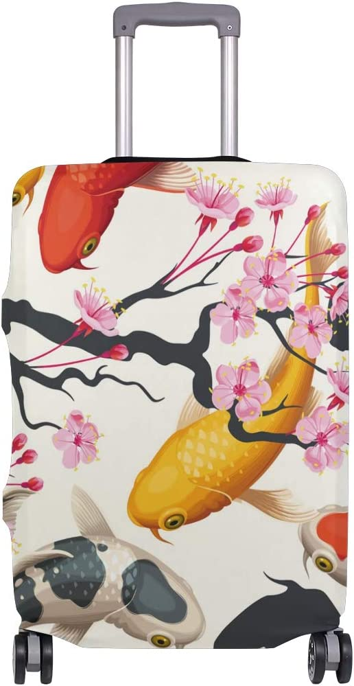 Carps Flowers Travel Luggage Cover Stretchable Polyester Suitcase Protector Fits 18-20 Inches Luggage