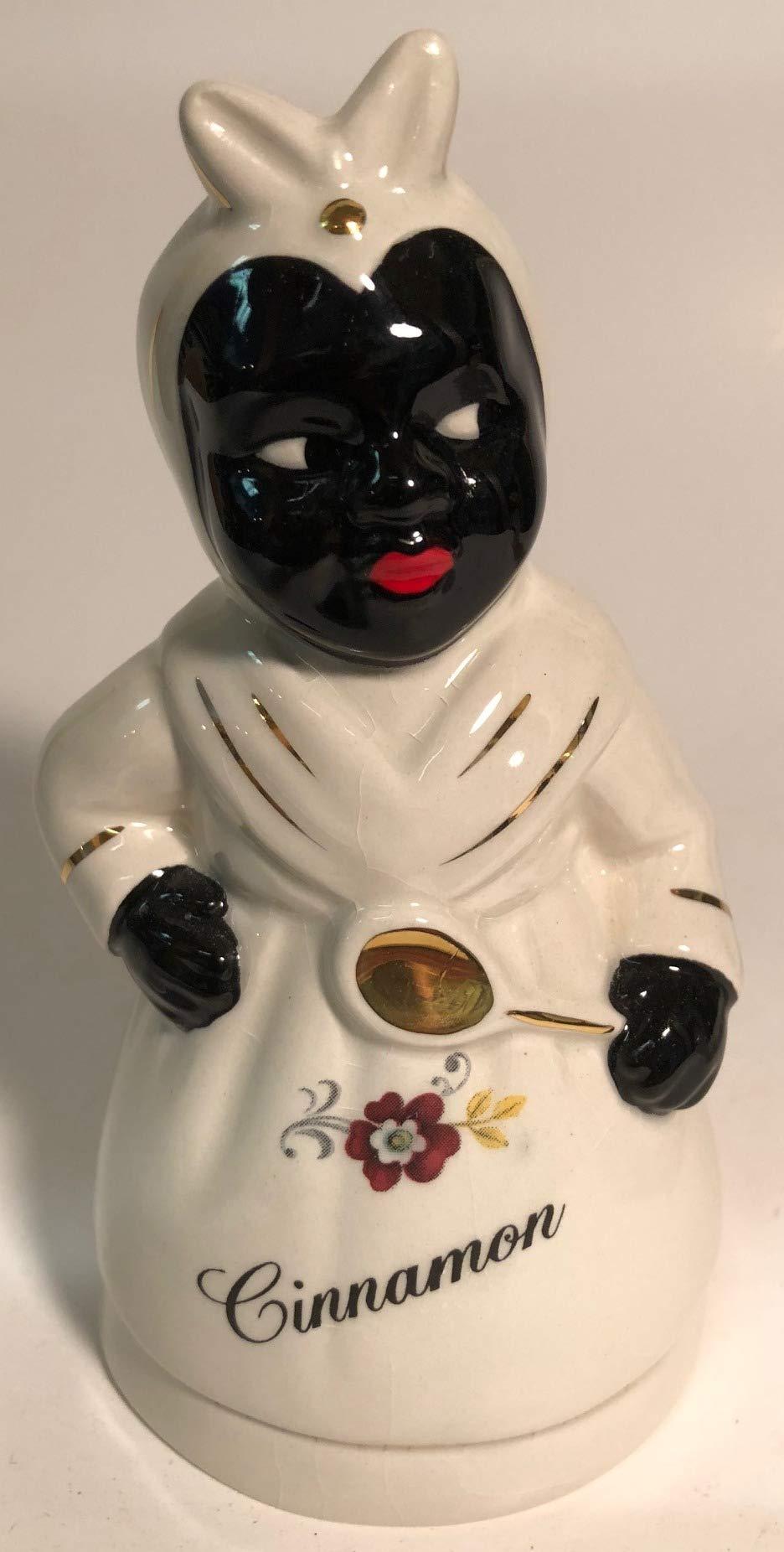 Spice Shaker - Black Americana (White Aunt Jemima Cinnamon Floral)