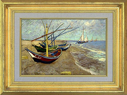 Creative 3D Visual Effect Wall Mural Fishing Boats on the Beach at Saintes Maries by Vincent Van Gogh Peel Stick Wall Decor