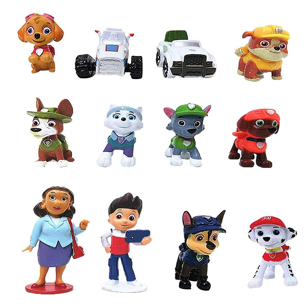 12PCS Paw dogs patrol cake topper Cup cake topper mini Figurines Children mini toys Kids birthday party supplies by candices