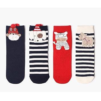 Calcetines koly Long® 4 pares Mujer Chica Navidad calcetines Otoño Invierno dibujos animados Medias Calcetines