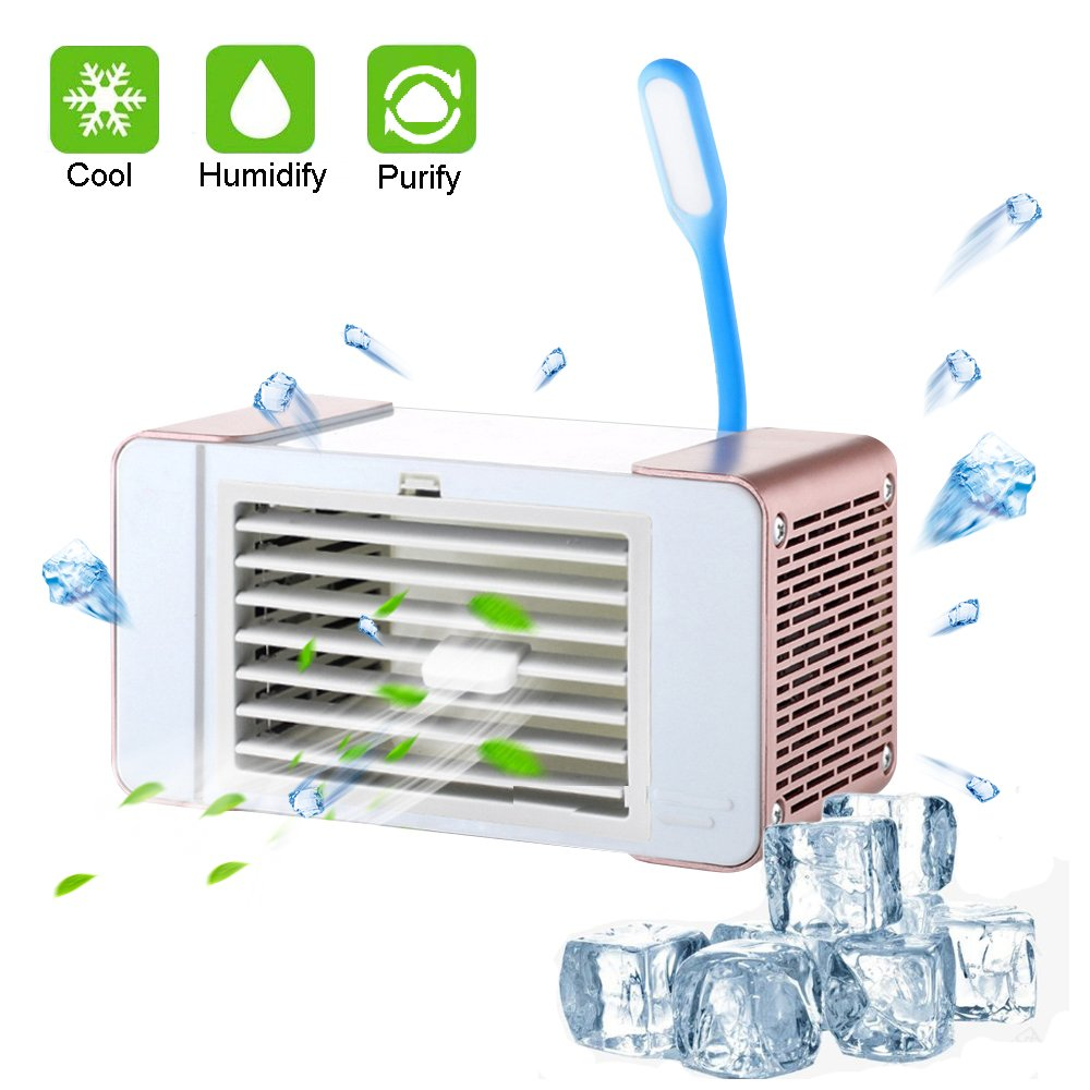 Aolvo Mini Portable Air Conditioner,USB Charging Desktop Cooller Fan, Super Quiet 4 in 1 Use Personal Air Purifier Humidifier with LED Lights for Night Reading, Size 7.3''x4.2''x3.5'' (Rose)