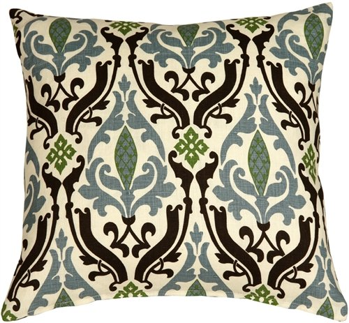 PILLOW DÉCOR Linen Damask Print Blue Brown 18x18 Throw Pillow