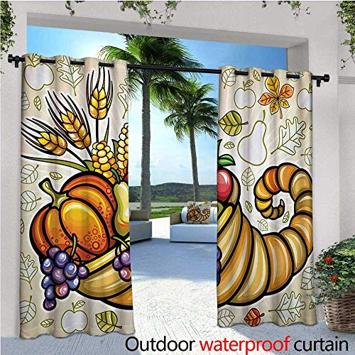 homehot Harvest Patio Curtains Cornucopia Harvest Thanksgiving Image with Various Fall Yield Pumpkin Corn Outdoor Curtain for Patio,Outdoor Patio Curtains W108 x L108 Orange Green Purple ()