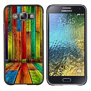 KLONGSHOP // Cubierta de piel con cierre a presión Shell trasero duro de goma Protección Caso - COLOR MADERA grunge modelo - Samsung Galaxy E5 E500 //