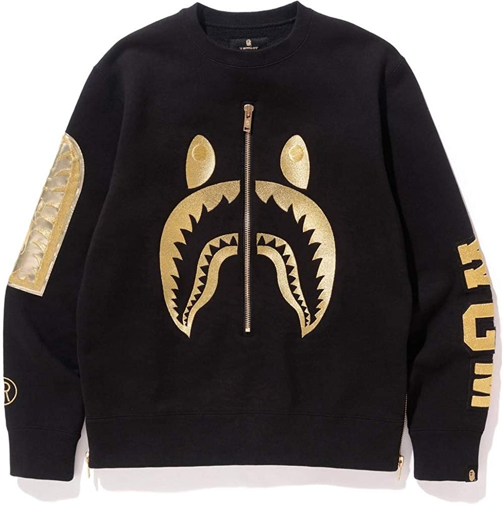 GoldBucket Unisex Fashion Hoodies S, Shark Embroidery Side Zip ,Small