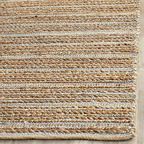 Safavieh Cape Cod Collection CAP851B Hand Woven Blue Jute and Cotton Area Rug (2' x 3') (Cotton Area Rugs 2x3)