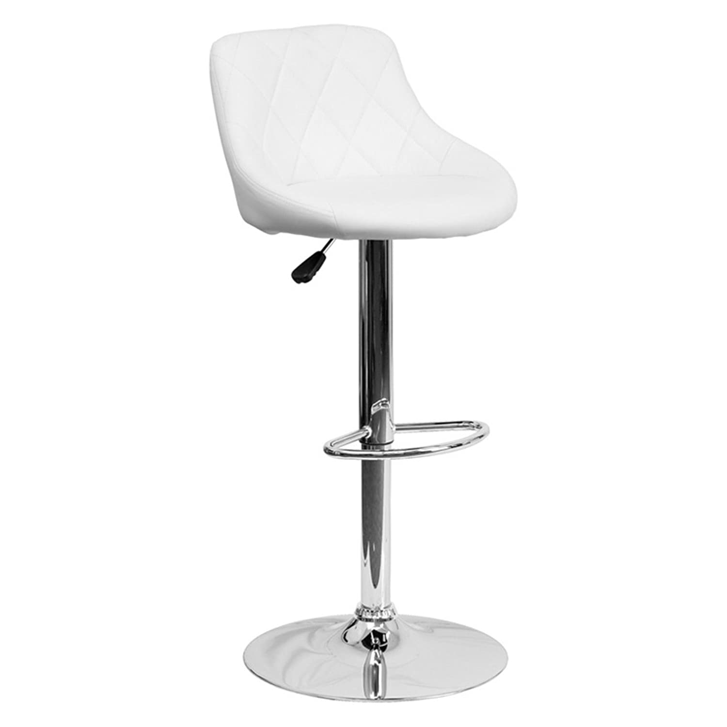 Belleze Set of 2 Modern Adjustable Bar Stool Bucket Seat Swivel and Footrest, White