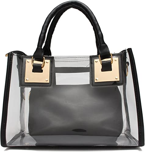 Fashion Women Transparent Handbags Chain Stripe Shoulder Bag Clear Jelly Purse