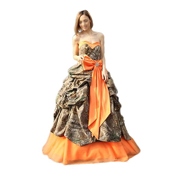 Chupeng Women\'s Ruffle Bowknot New Camo Wedding Dresses Ball Gown ...