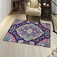 Ethnic Anti-Skid Area Rug Boho Style Mandala Figures Festive Colorful Spring Garden Themed Old Fashioned Tile Soft Area Rugs 4x6 Multicolor