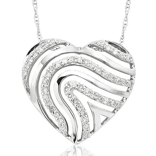 Amazon 10k white gold heart diamond pendant necklace 15 carat 10k white gold heart diamond pendant necklace 15 carat aloadofball Choice Image