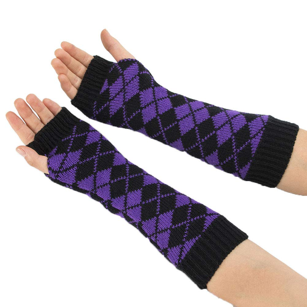 Aland Winter Women Rhombic Print Fingerless Long Gloves Arm Warmer Knitted Mittens Purple by Aland (Image #5)
