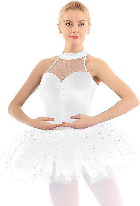 YiZYiF Vestido Ballet Tutú Mujer Chica Maillot Patinaje Artístico ...