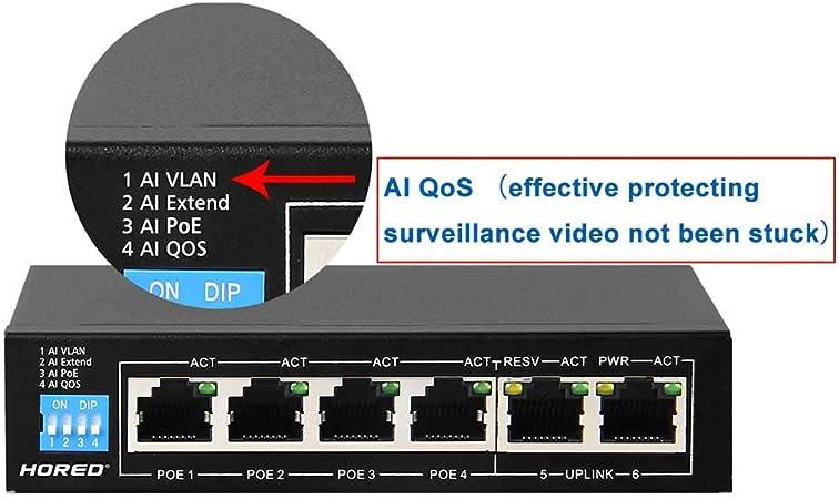 4/Ports PoE 802.3/AF /Smart Switch PoE /à 6/Portes 802.3/at 60/W 48/V hored ai104/