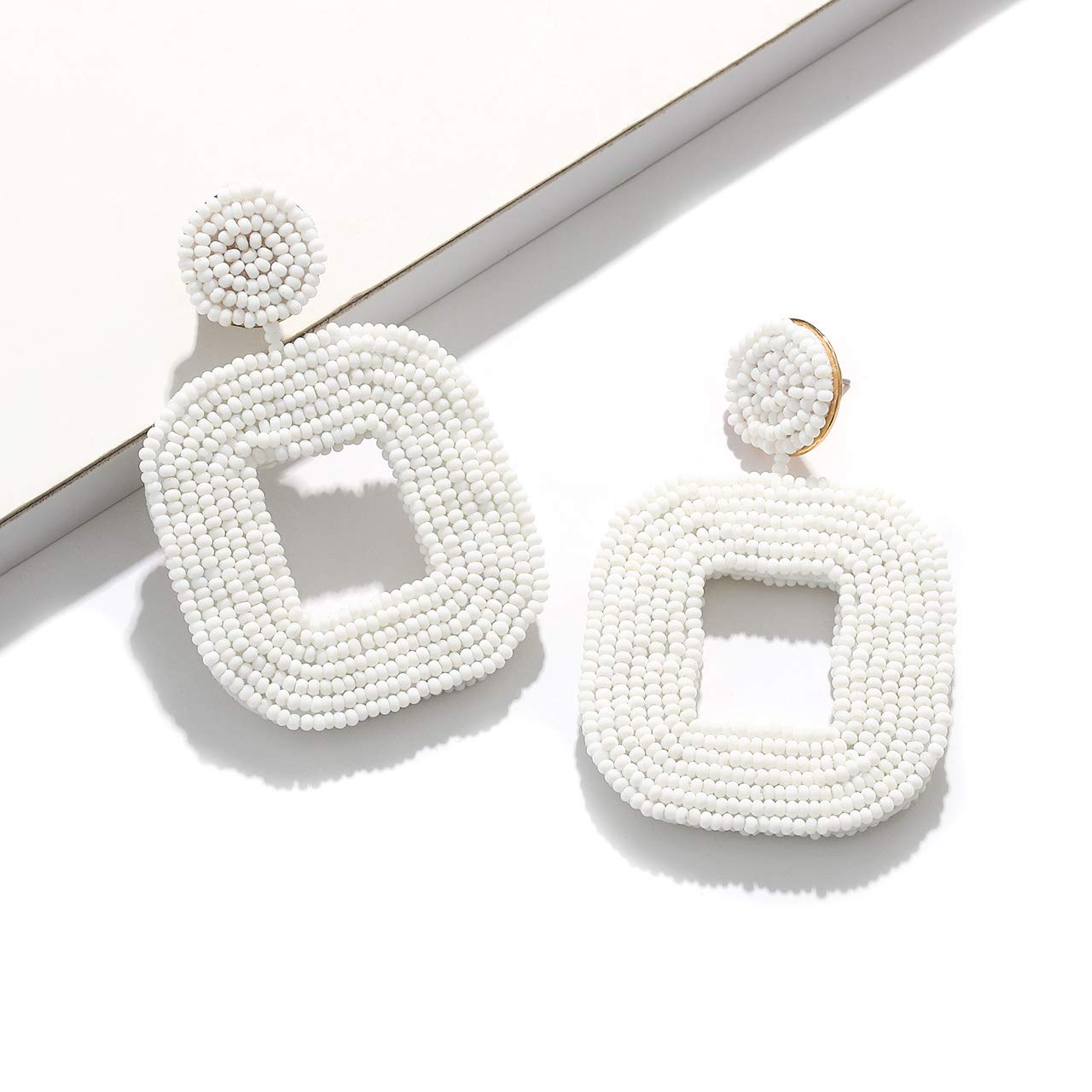 boderier Beaded Drop Earrings Bohemian Beaded Square Hoop Dangle Statement Earrings (White)