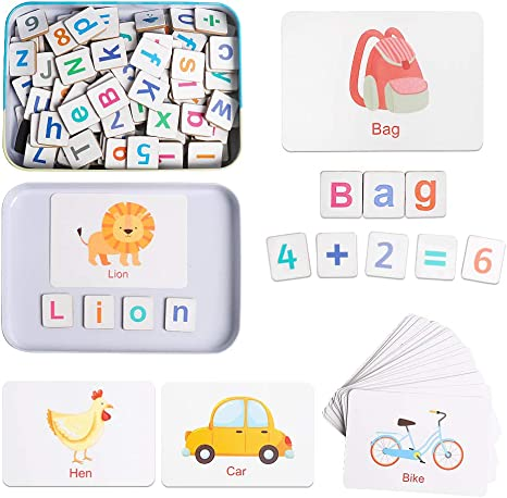 JCREN Wooden Magnetic Letters and Numbers Toys,Fridge Magnets ABC Alphabet Block Word Flash Cards Spelling Counting Game Learning Uppercase Lowercase Math for 3 4 5 Year Old Preschool Toddler Kids