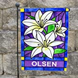 "Double Sided Personalized Lilies Garden Flag, 12 1/2"" w x 18"" h, Polyester For Sale"