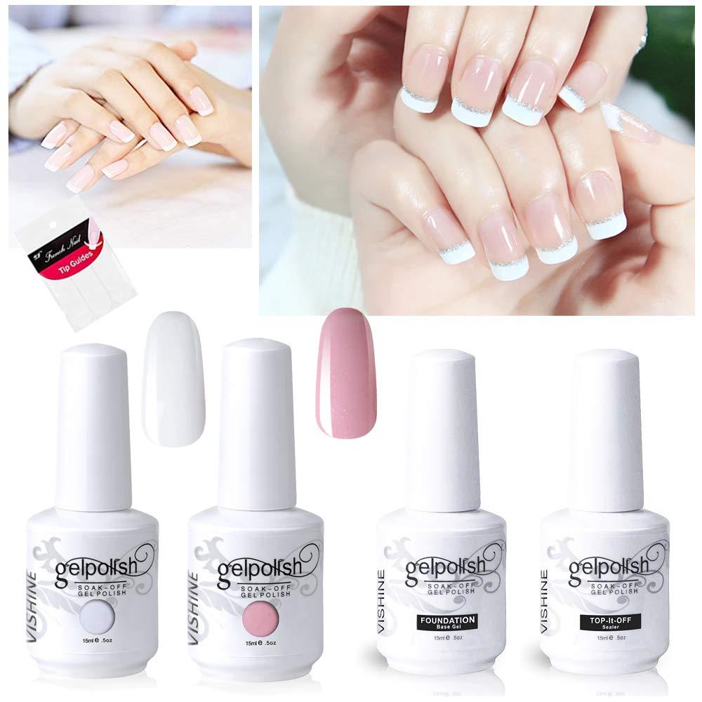 Amazon Com Vishine Gel Polish French Manicure Kit Top Base Coat