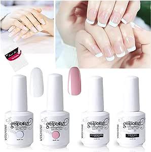 Vishine Gel Nail Polish French Manicure Set Top Coat Base Coat French White Light Pink Gel Color For Nail Art