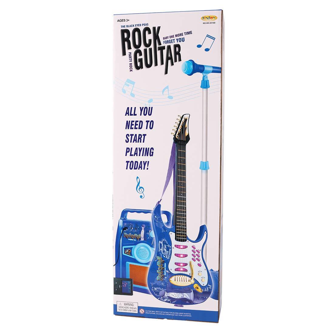 Loudspeaker Box Electronic Guitar PeleusTech/® Childrens Karaoke Set Microphone Stand Gift for Kids