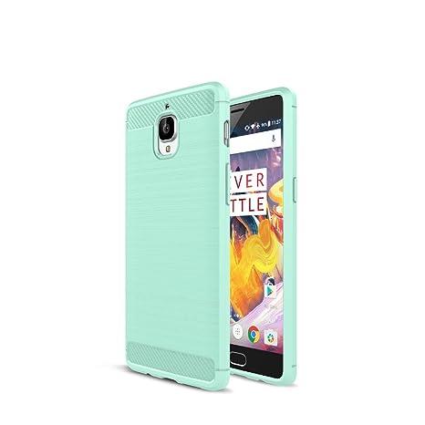 One Plus 3 Funda - Carbon fiber Soft Silicone Case Carcasa Funda para One Plus 3 - Verde