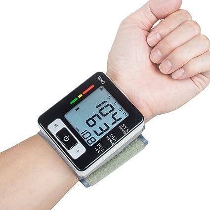 Blutdruckmessgerät Handgelenk Genau erkennt Blutdruck Herzfrequenz & Unregelmäßigen Herzschlag, große Pantalla de cristal líquido (