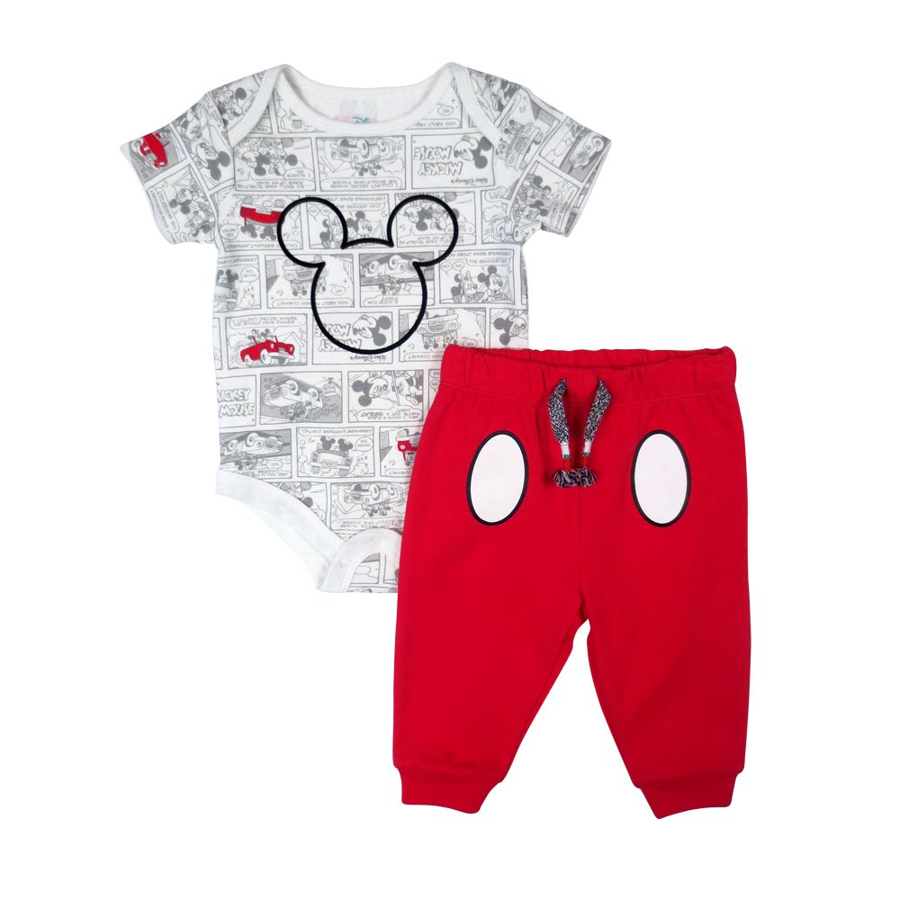 Disney Kid's Mickey Pant/Creeper Set, Red, 3M DS18NU469