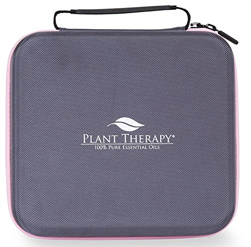 Plant Therapy Large Hard-Top Carrying Case, Holds up to 30 Bottles (5 ml, 10 ml, 15 ml) Grey with Pink Zipper (Storage Therapy)
