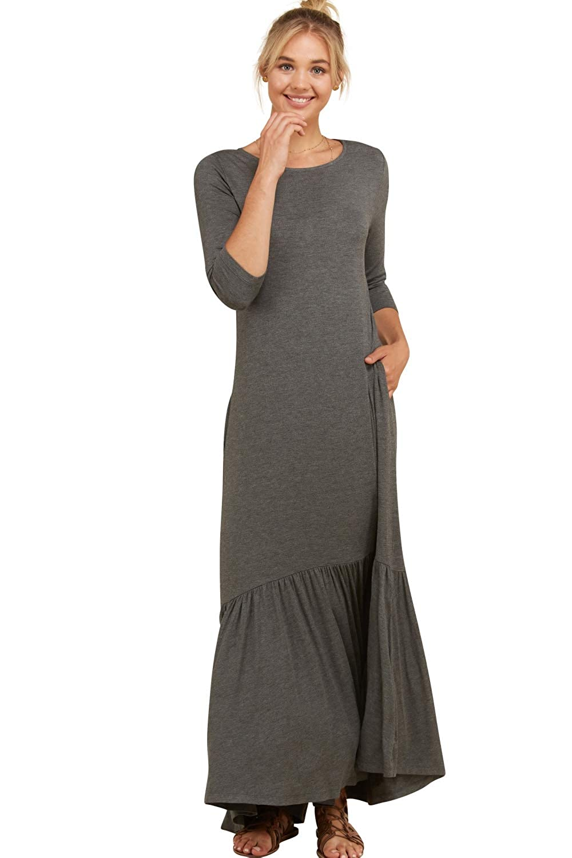 f396acbdbd9c4 Annabelle Women's Round Neck 3/4 Sleeves Ruffle Hi Low Hem Maxi Dresses  with Pockets