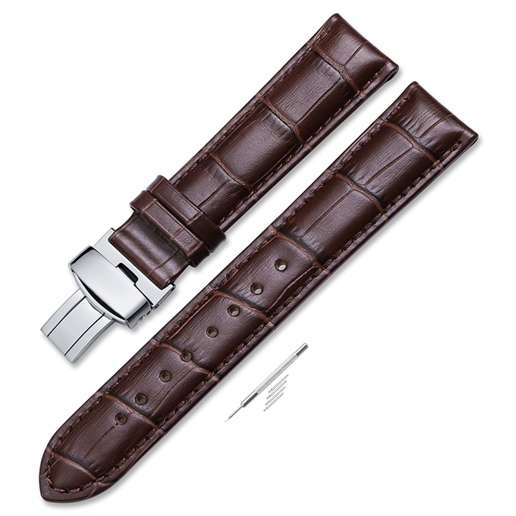 iStrap 20mm Genuine Leather Watch Band Padded Deployant Croco Strap for Men Women - Brown 20