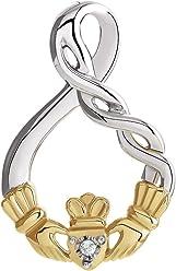 Sterling Silver & 10K Yellow Gold .01 Carat (CT) Diamond Claddagh Pendant