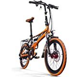 Electric Folding City Bike Men/Ladies Bicycle Road Bike RT700 250W*48V*8Ah 20Inch Dual Suspension 7Speed SHIMANO Derailleur LG Battery Cell Double Disc Brake Spokes