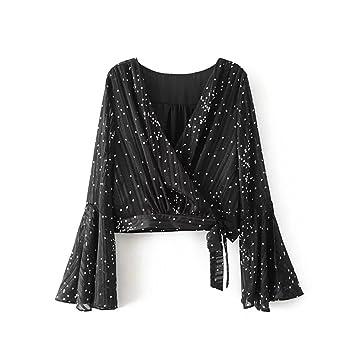 Women s Casual moda blusas, negro Trompeta Trompeta mangas cortas mangas, negro y