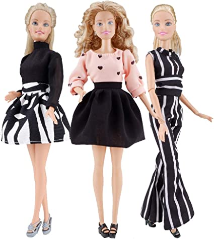 Fit For 18/'/' American Girl Black /& White Pleated Princess Dress Doll Clothes New