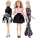 E-TING Handmade Doll Clothes Short Skirt Jumpsuits Office Style Wears Dress for Girl Dolls (3 Sets)