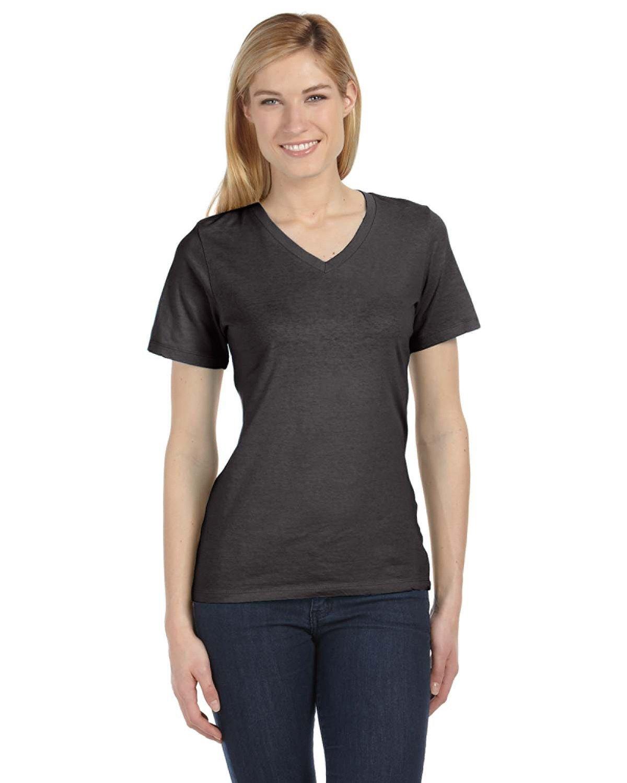 Bella girls Missy's Relaxed Jersey Short-Sleeve V-Neck T-Shirt(6405)-CHRCL BLCK TRBLN-M