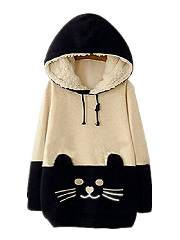 Women Sweater Cartoon Cat Fleece Hoodie Pullover Sweatershirt ( Navy Blue) LIWEIKE