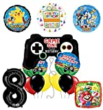 The Ultimate Video Game 8th Birthday Party Supplies and Balloon Decorations (Sonic, Super Mario and Pokemon)