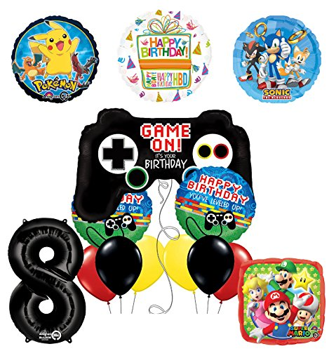 The Ultimate Video Game 8th Birthday Party Supplies and Balloon Decorations (Sonic, Super Mario and Pokemon) by Mayflower Products