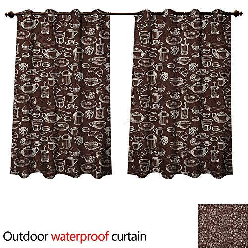 Anshesix Brown and White 0utdoor Curtains for Patio Waterproof Hand Drawn Style Pattern with Coffee Tea Cups Donuts and Sweets W55 x L72(140cm x 183cm)