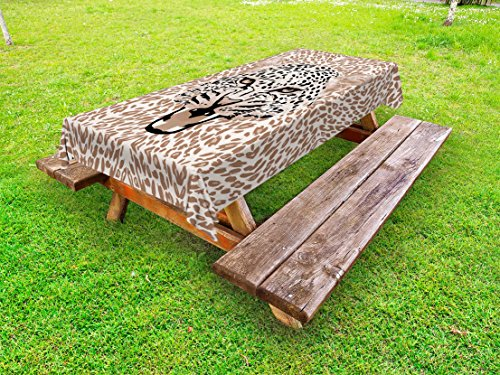 - Ambesonne Modern Outdoor Tablecloth, Roaring Leopard Portrait with Rosettes Wild African Animal Big Cat Graphic, Decorative Washable Picnic Table Cloth, 58 X 120 Inches, Cocoa Beige Black