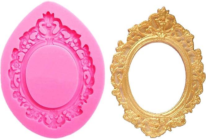 DIY Frame Mirror Silicone Mold Sugarcraft Fondant Cake Decorating Baking Tools/_