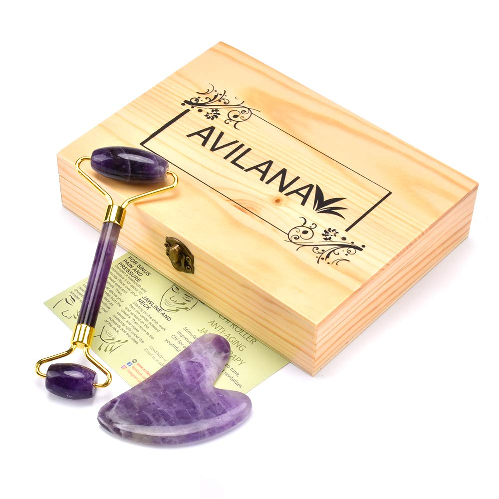 Avilana Premium Quality Natural Amethyst Face Roller and Gua Sha Set With Wooden Storage Box-Jade Stone Roller,Face Massager and Gua Sha Tool, Facial Neck and Skin Rejuvenator(Amethyst)