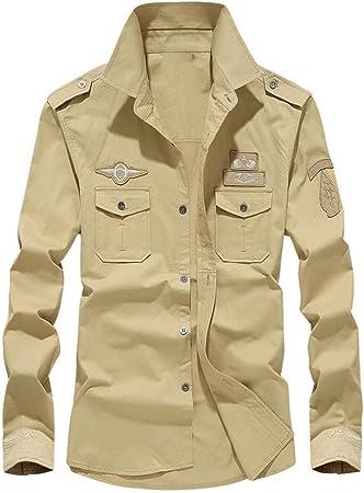 Hombre Camisas Manga Larga Militar Estilo Color Sólido Camiseta De Acampada Y Senderismo – Camisa Hombre Manga Larga Botón Bolsillo Casual (Caqui, XL): Amazon.es: Hogar