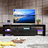 SUNCOO TV Stand Media Console Cabinet LED Shelves with 2 Drawers for Living Room Storage High Gloss Black for up to 63-inch TV Screens
