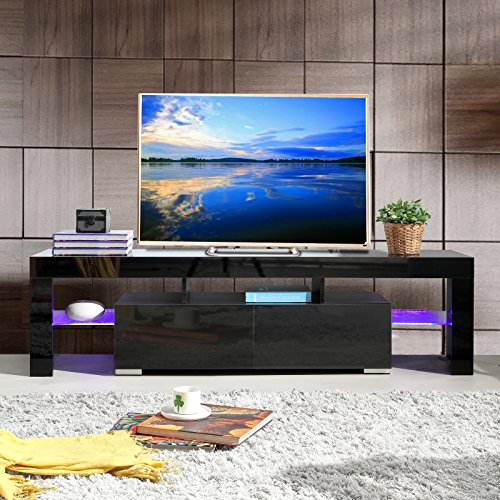 SUNCOO High Gloss Black TV Stand Unit Cabinet w/LED Shelves 2 Drawers Console Furniture