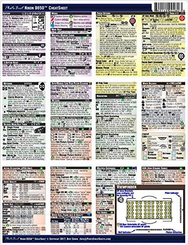 Nikon D850 Digital SLR CheatSheet (short version, laminated, instruction (Digital Slr Cheat Sheet)