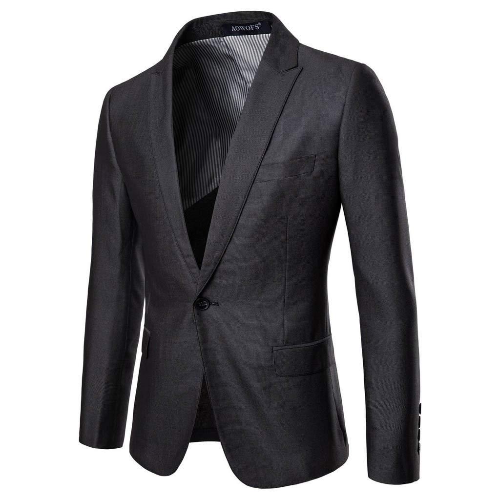 Benficial Men's Slim 2-Piece Single Button Suit Pure Color Dress Blazer Host Show Jacket Coat & Pant Business Wedding Blazer Gray